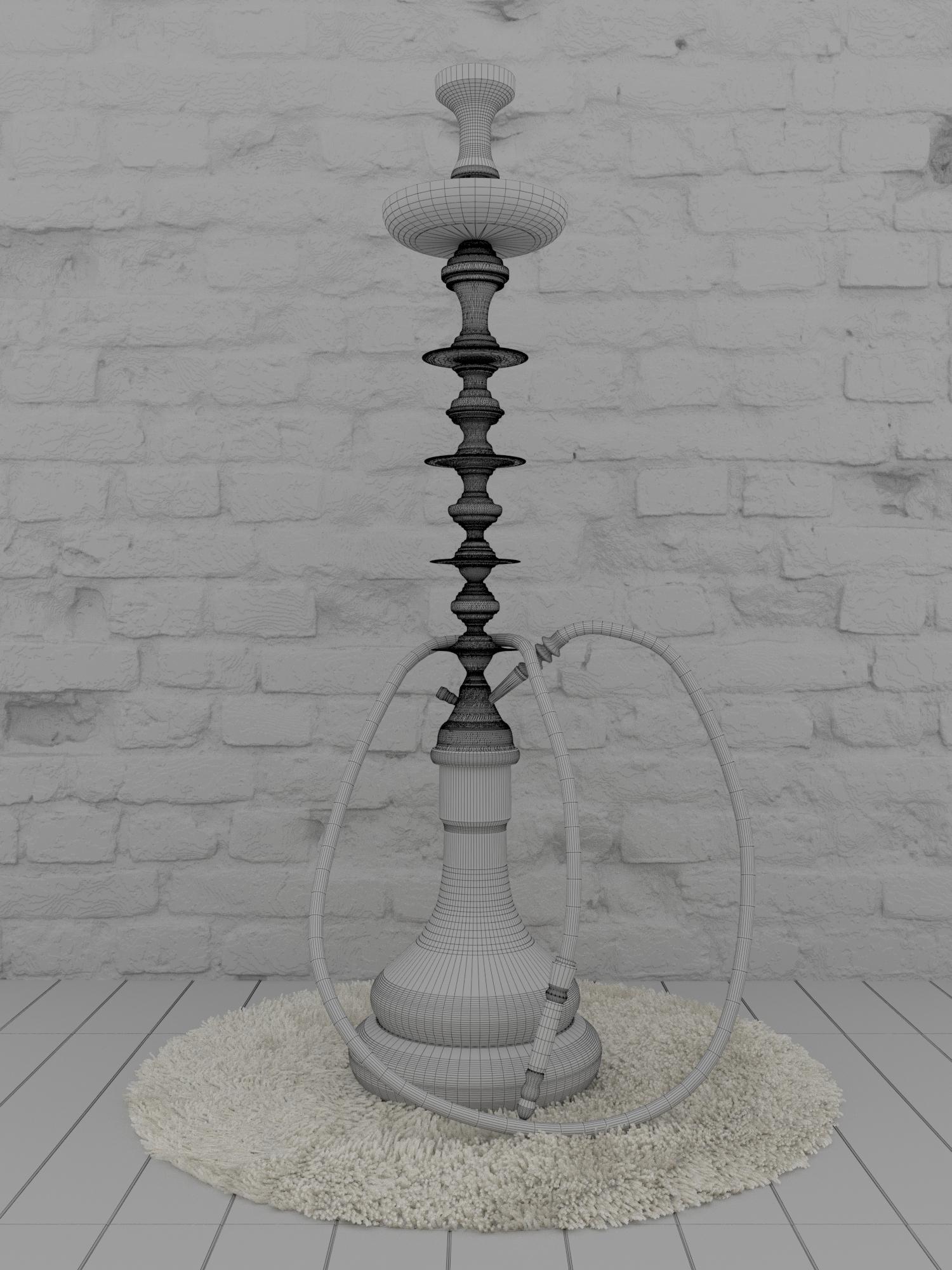 हुक्के 3d max corona render में प्रस्तुत छवि