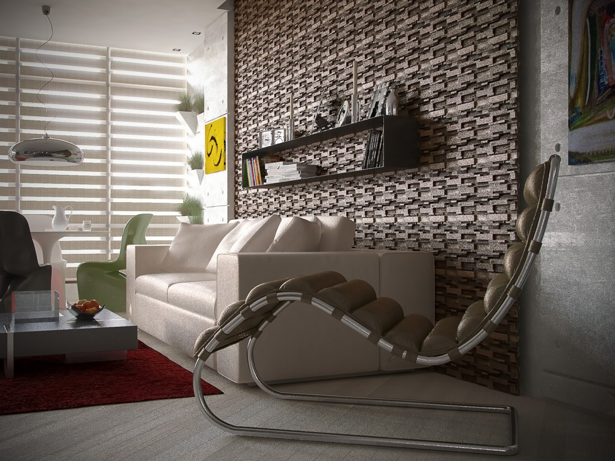 Studio apartment in 3d max vray image
