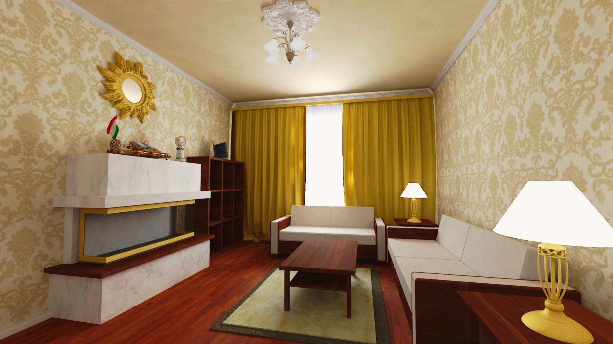 3d visualization of the project in the Guest room 3d max, render vray 2.5 of Sharifjon Olimov