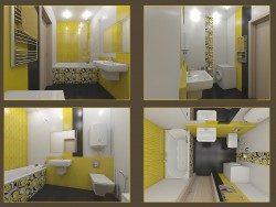 Bathroom tile layout Tubadzin, Colour Yellow collection