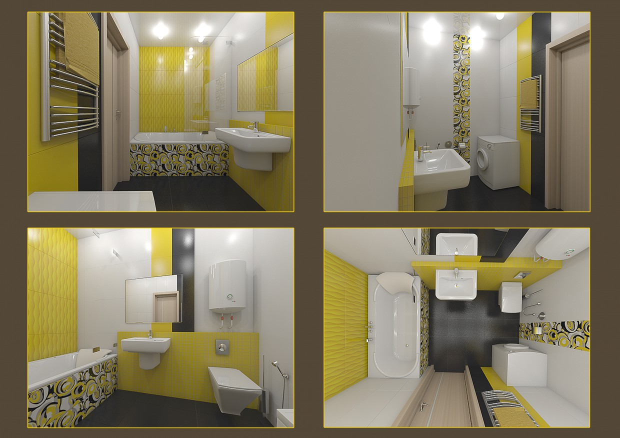 3d visualization of the project in the Bathroom tile layout Tubadzin, Colour Yellow collection 3d max, render vray of chance_odessa