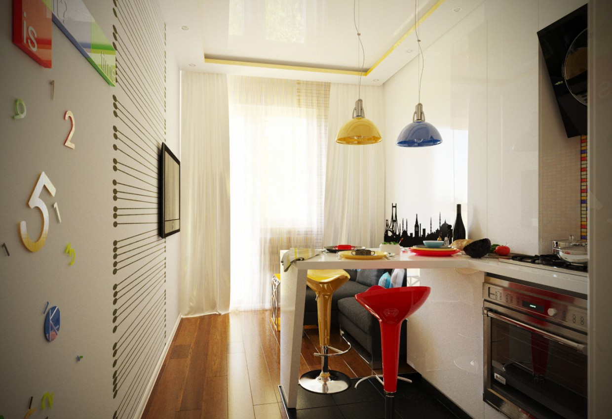 Kitchen for young people в 3d max corona render изображение