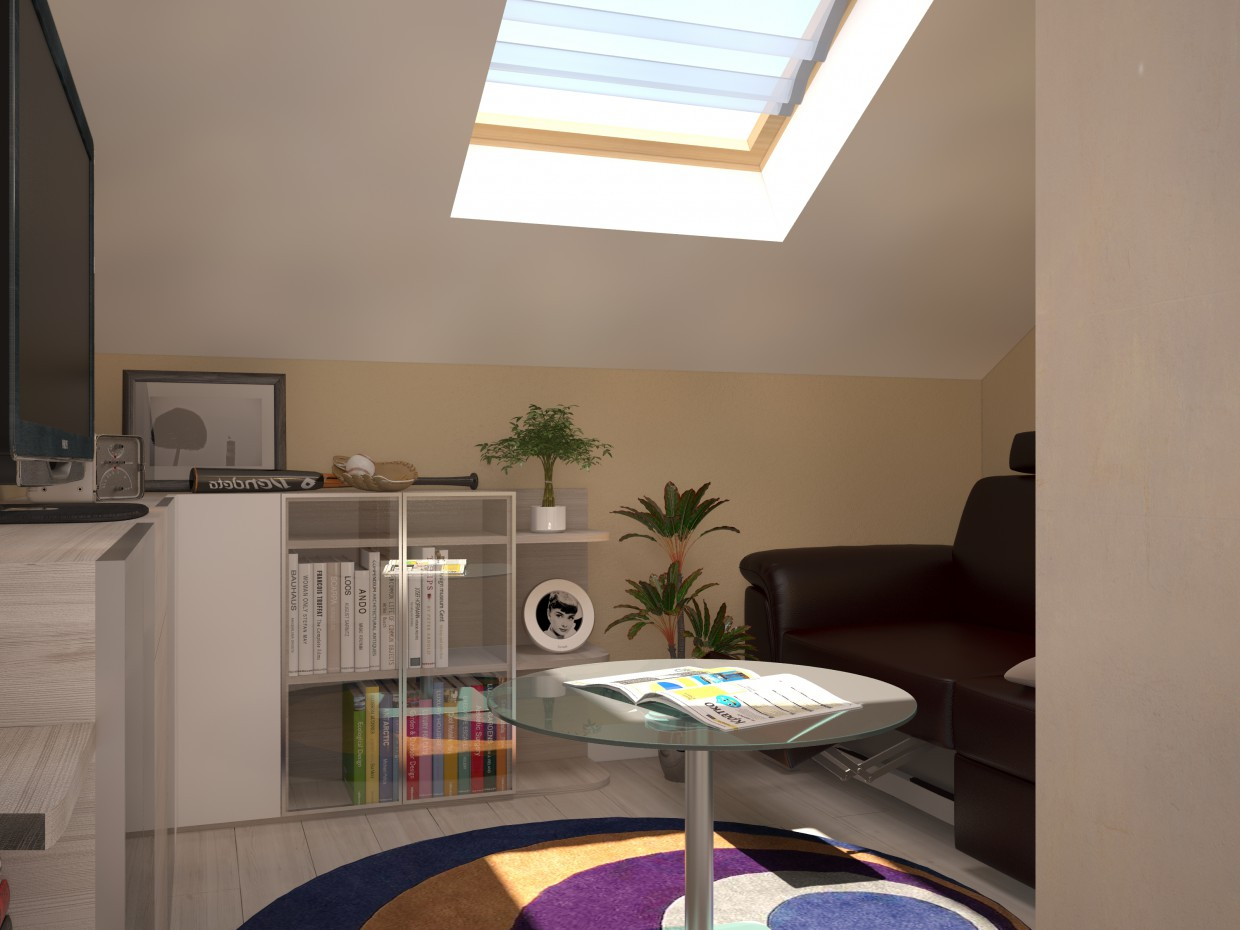 3d visualization of the project in the Relax room 3d max, render vray of zossa