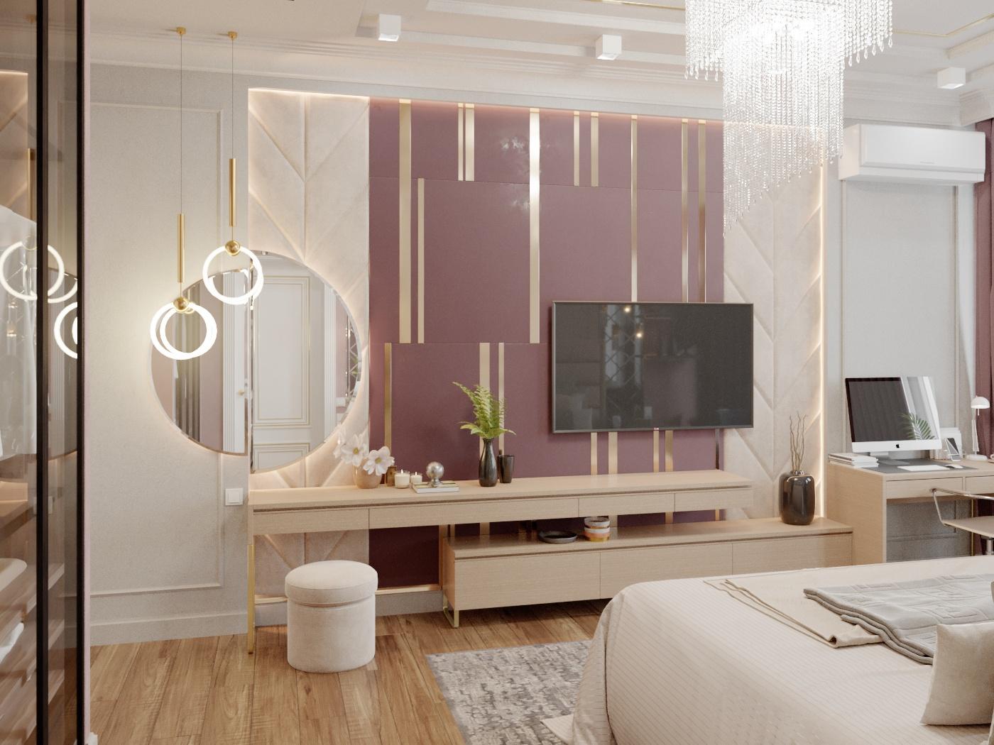 शयन कक्ष 3d max corona render में प्रस्तुत छवि