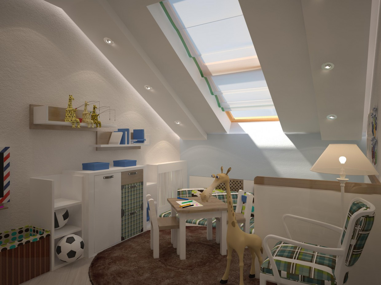 Child's room for a boy in 3d max vray image