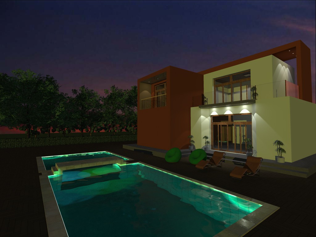 House in high-tech style in 3d max vray 2.5 image