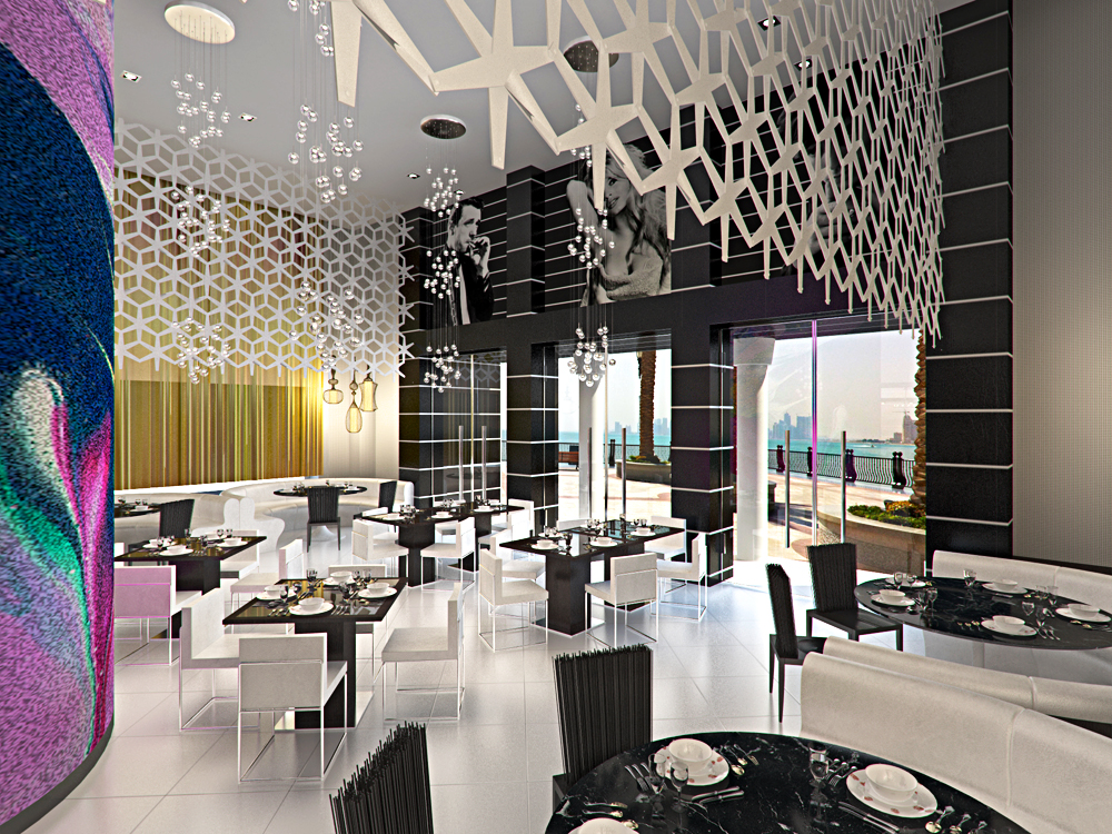 Restaurant in Dubai in Blender cycles render image