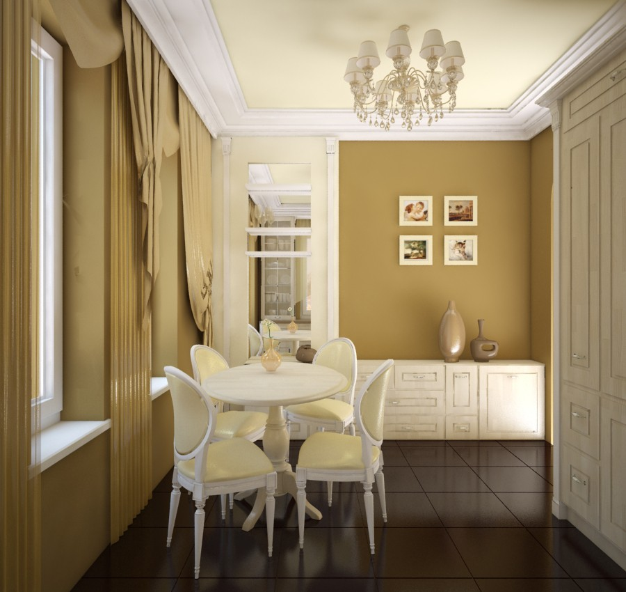 3d visualization of the project in the Classic kitchen 3d max, render vray of belajapushistaja