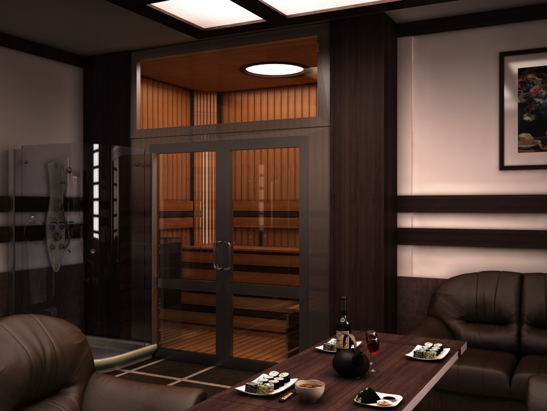 imagen de Sauna en 3d max vray