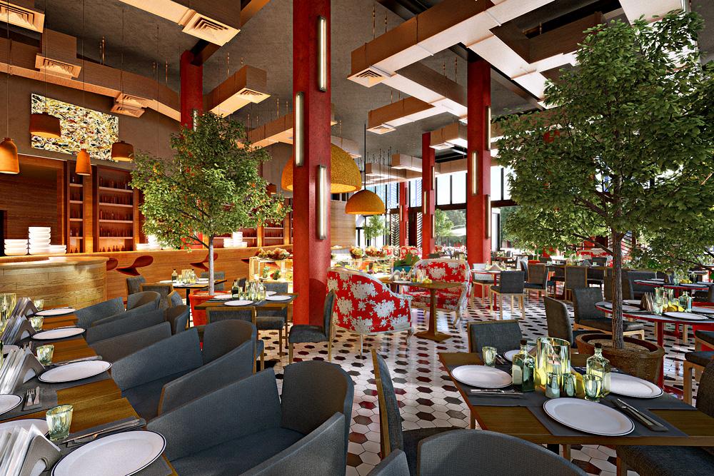 Restaurant in Gorky Park in 3d max corona render image