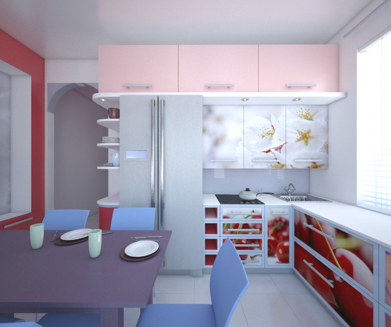 kitchen with cherries in 3d max vray image