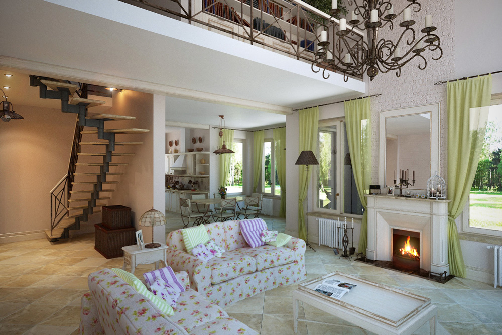 """Design project of a house of 200 m² in the style of """"Provence"""" in 3d max corona render image"""