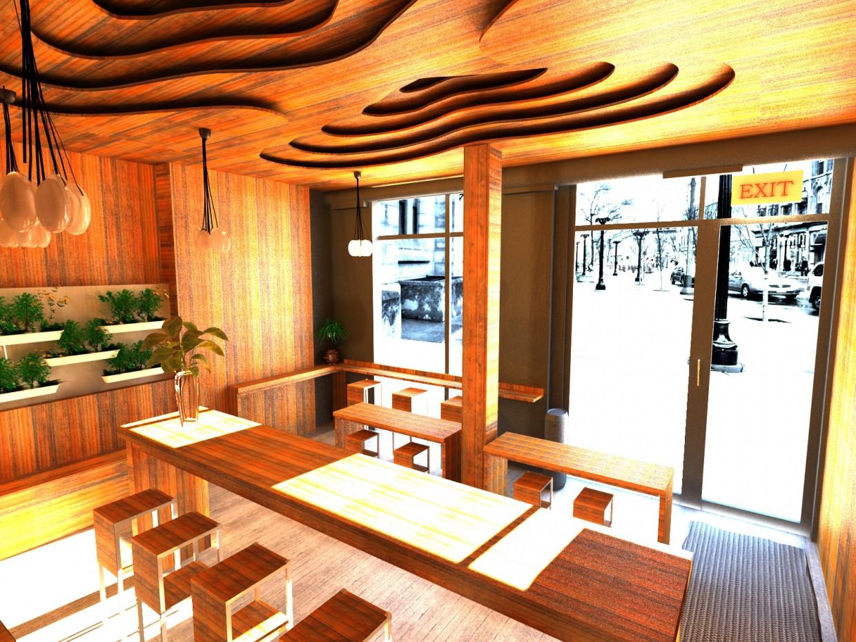 Visualizzazione 3D del progetto caffetteria nel , rendere vray di negar