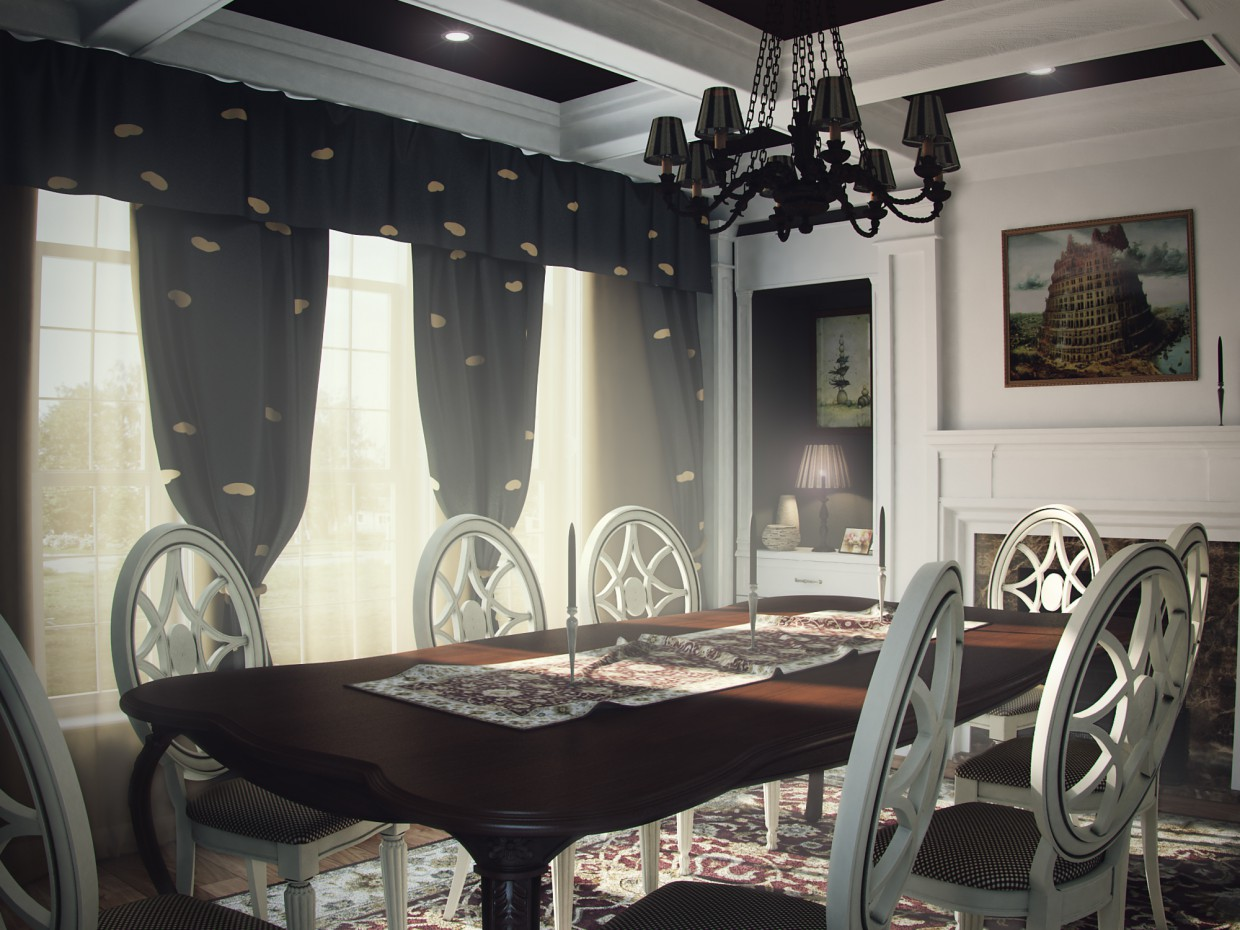 3d visualization of the project in the American-style dining room 3d max, render vray of 9f0x9