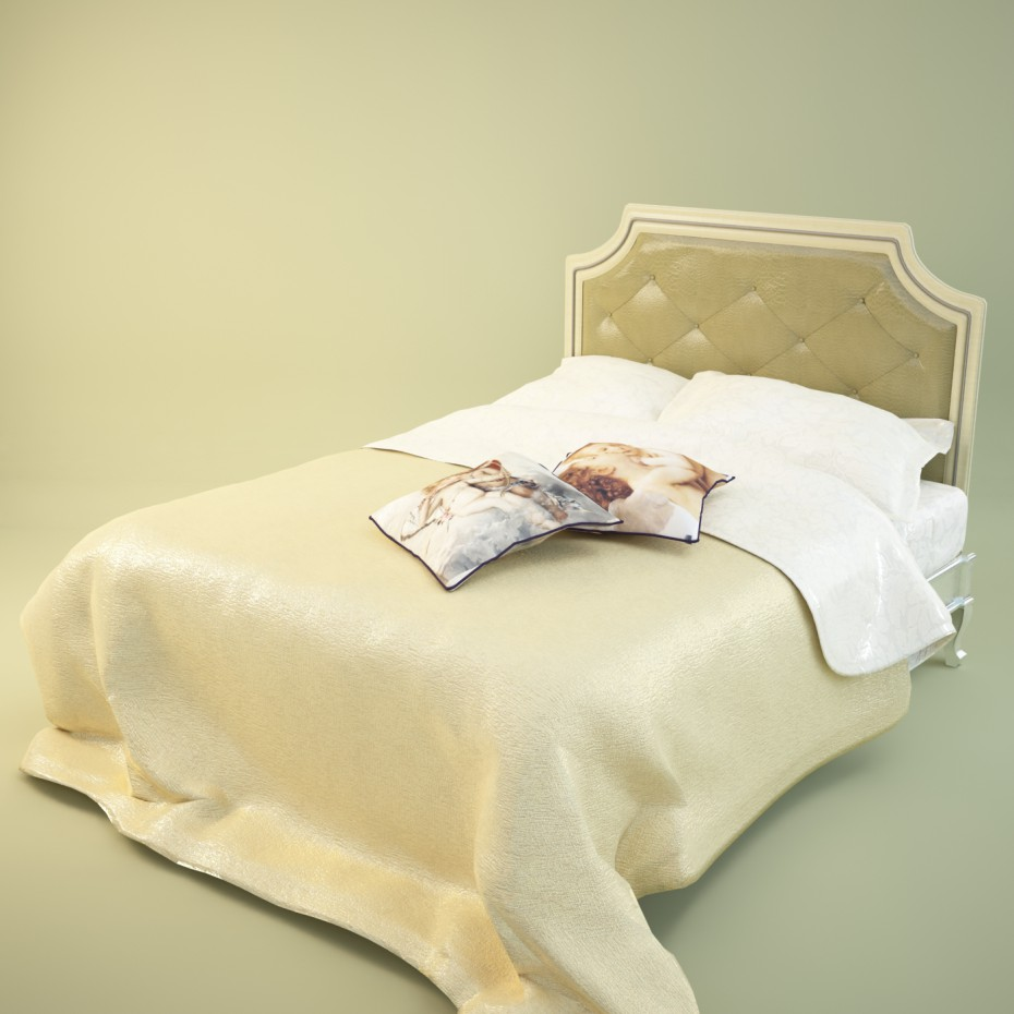 classic big bed in 3d max vray image