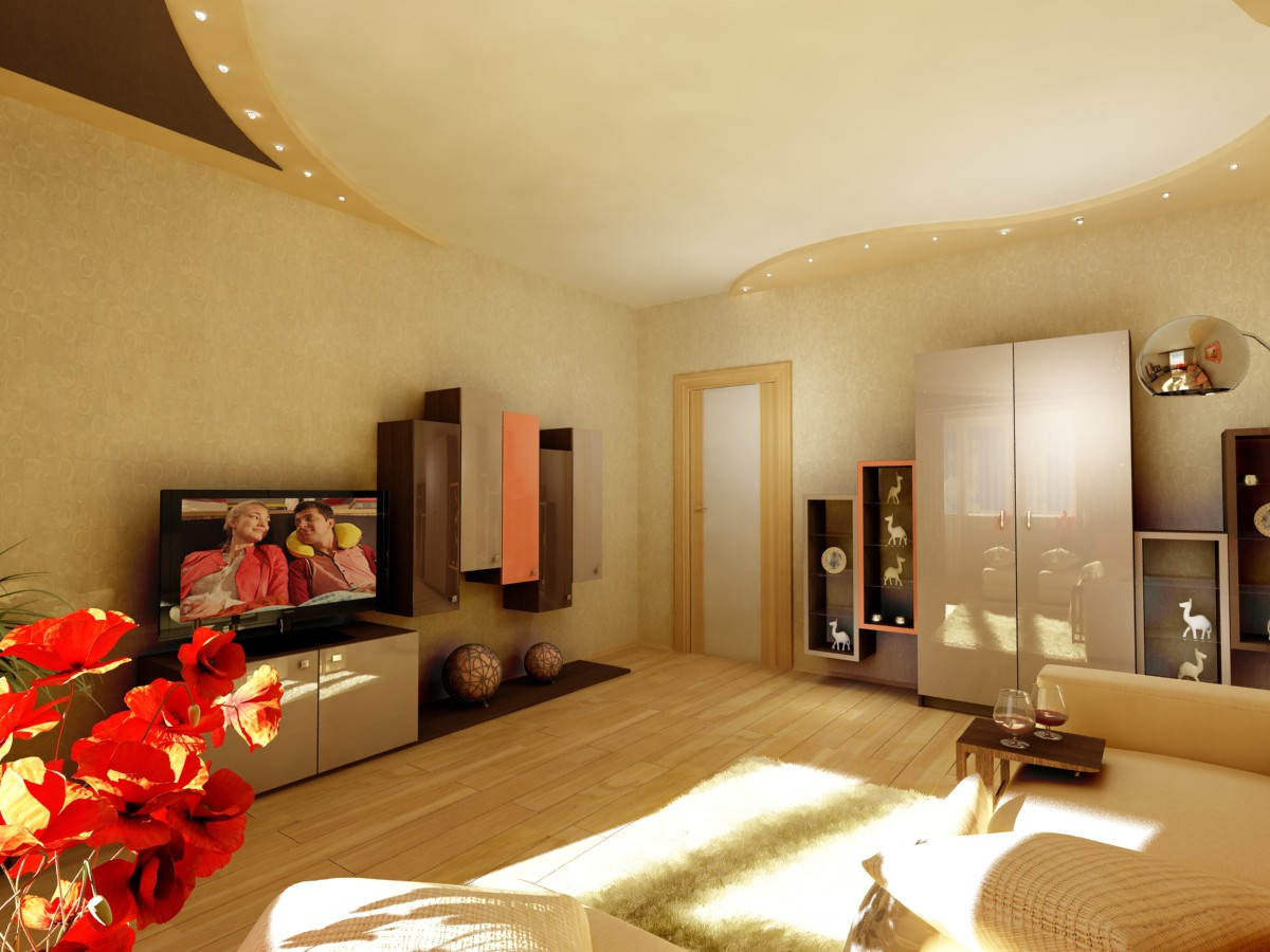 Three variants of room design  in  3d max   vray  image