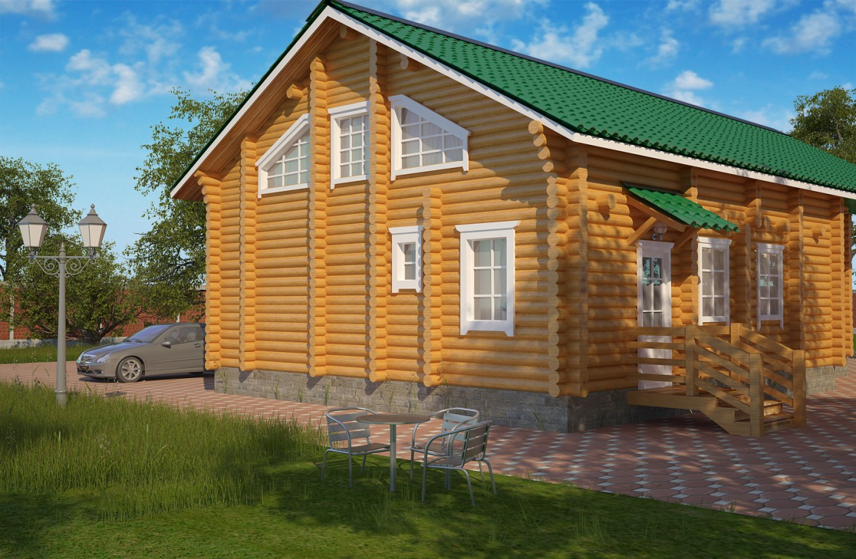 3d визуализация проекта Дом из бревна в 3d max, рендер vray от mortarion