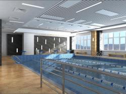 O projeto de design de interiores da piscina em Chernihiv