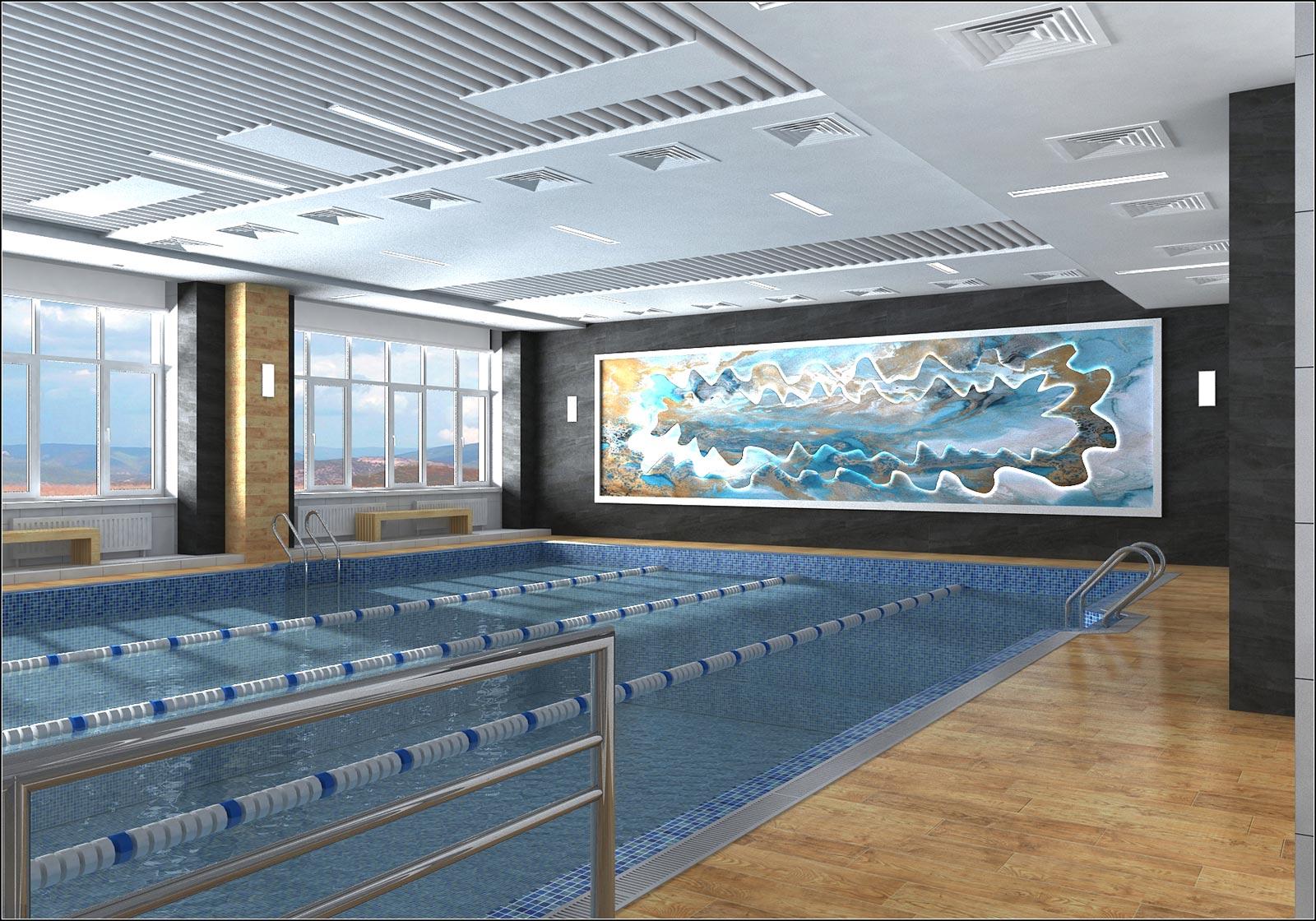 चेर्निहाइव में पूल के आंतरिक डिजाइन की परियोजना 3d max vray 1.5 में प्रस्तुत छवि