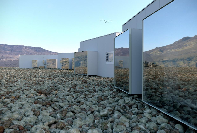 The original 4-star hotel Aire de Bardenas in 3d max corona render image