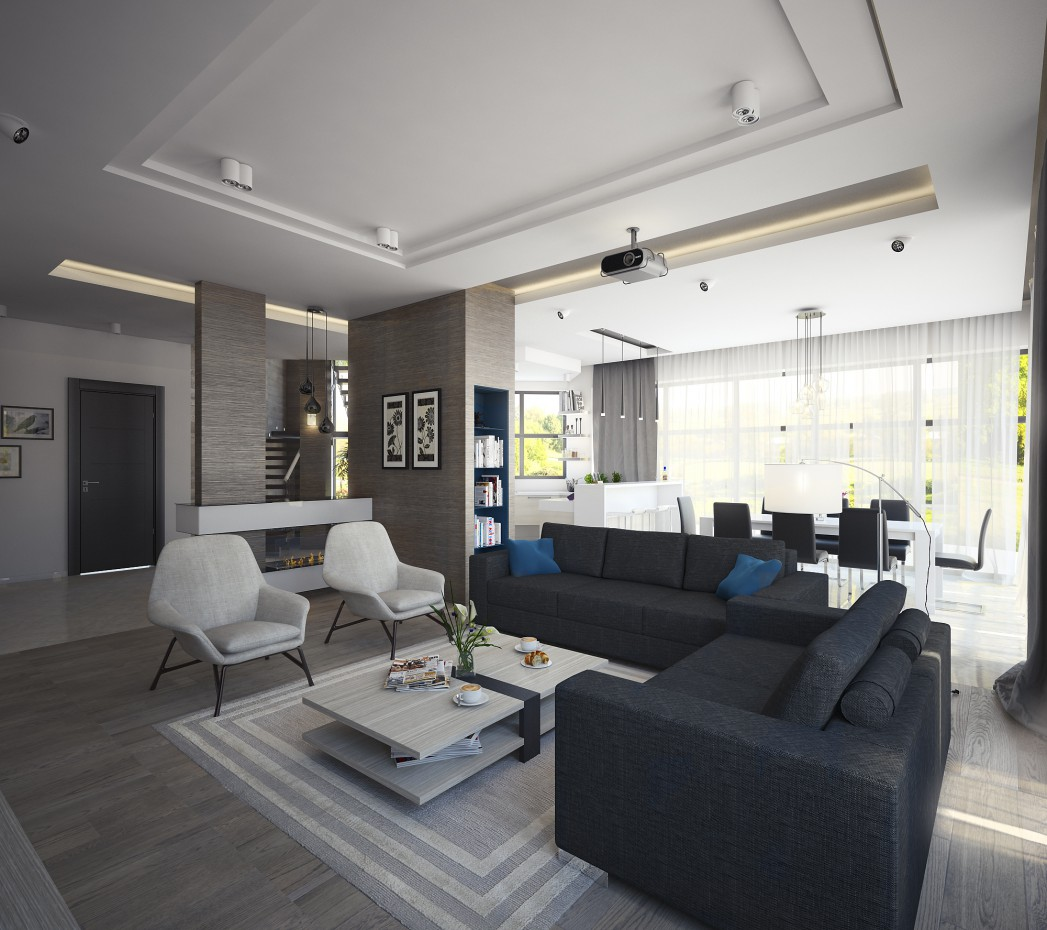 3d visualization of the project in the Living room 3d max, render vray of partixan