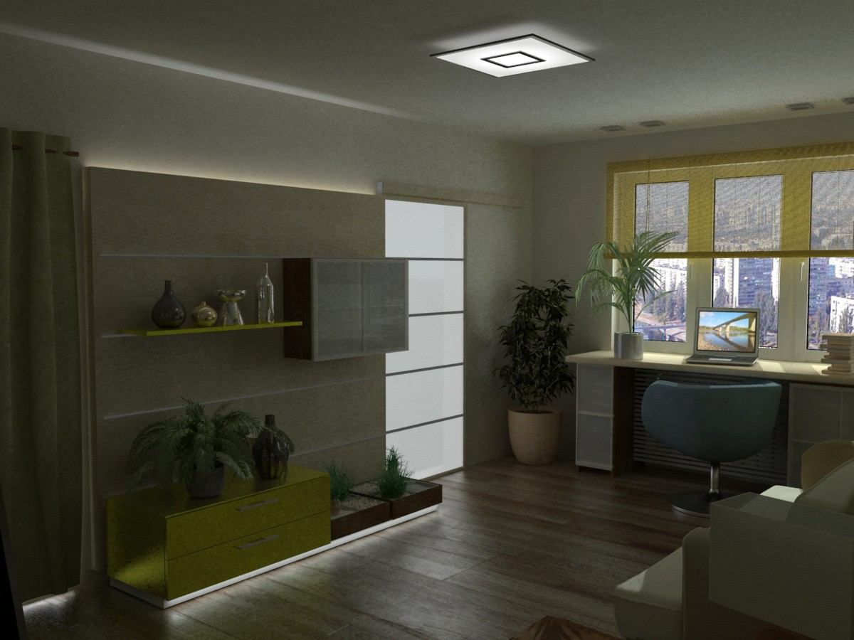 Эко в однокомнатной квартире в 3d max vray изображение