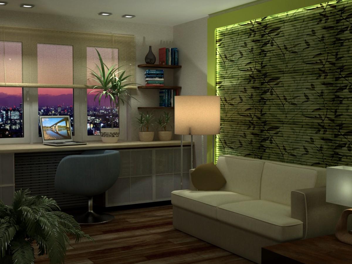 imagen de Eco en un monoambiente en 3d max vray
