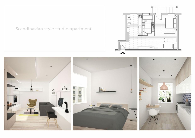 Scandinavian style studio apartment in 3d max vray 2.5 image