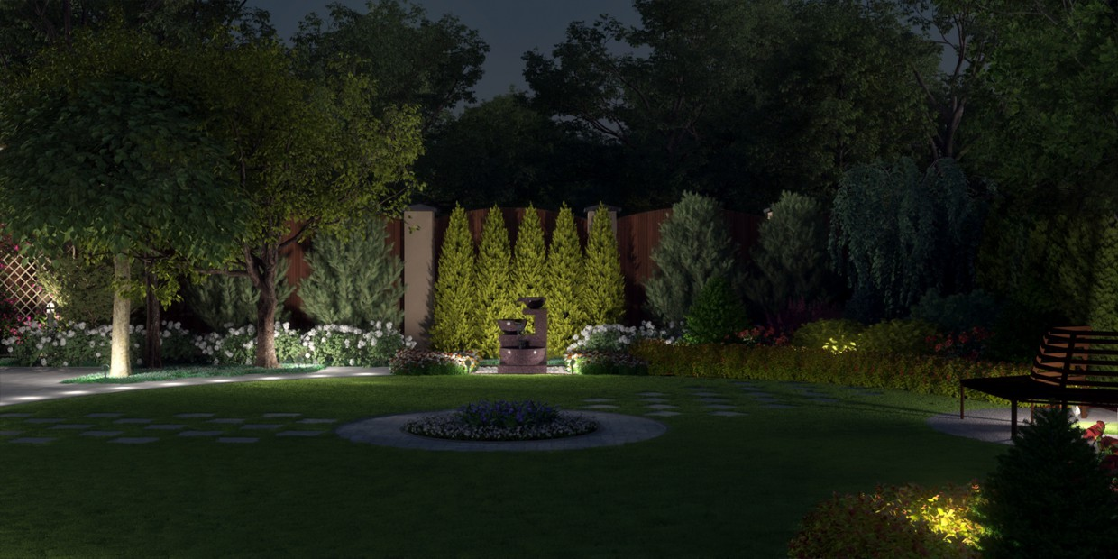 Landscaping project visualization plot in 3d max vray 3.0 image