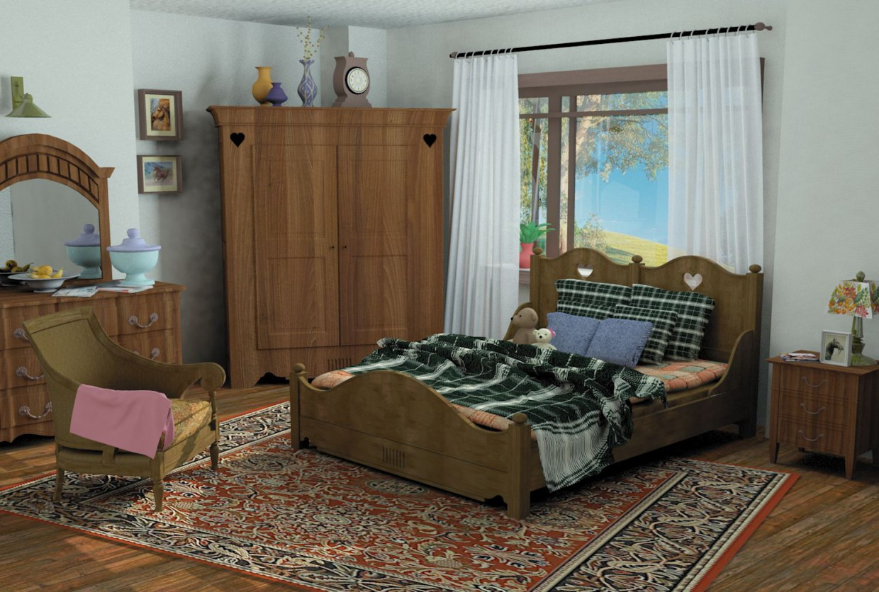 bedroom in 3d max mental ray image