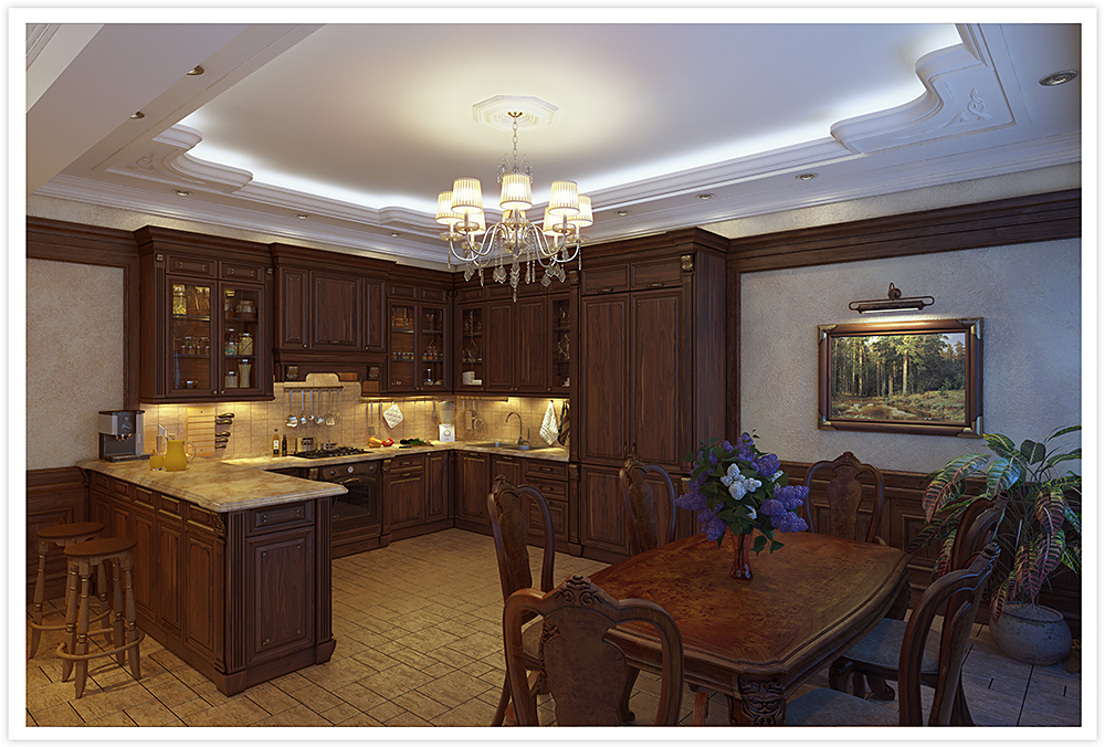 Kitchen-dining room in Blender cycles render image