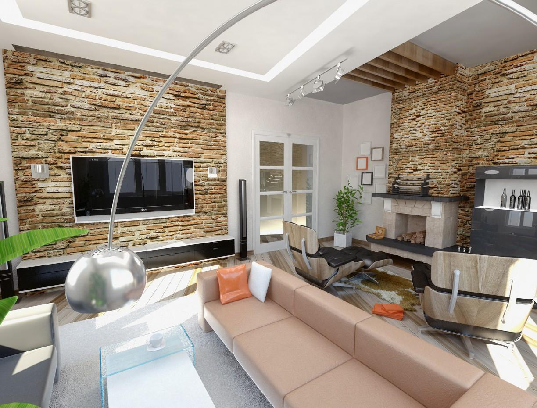 imagen de Sala de estar en una casa de campo en 3d max vray