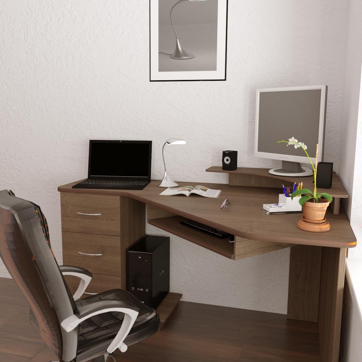 Computer desk in 3d max corona render image