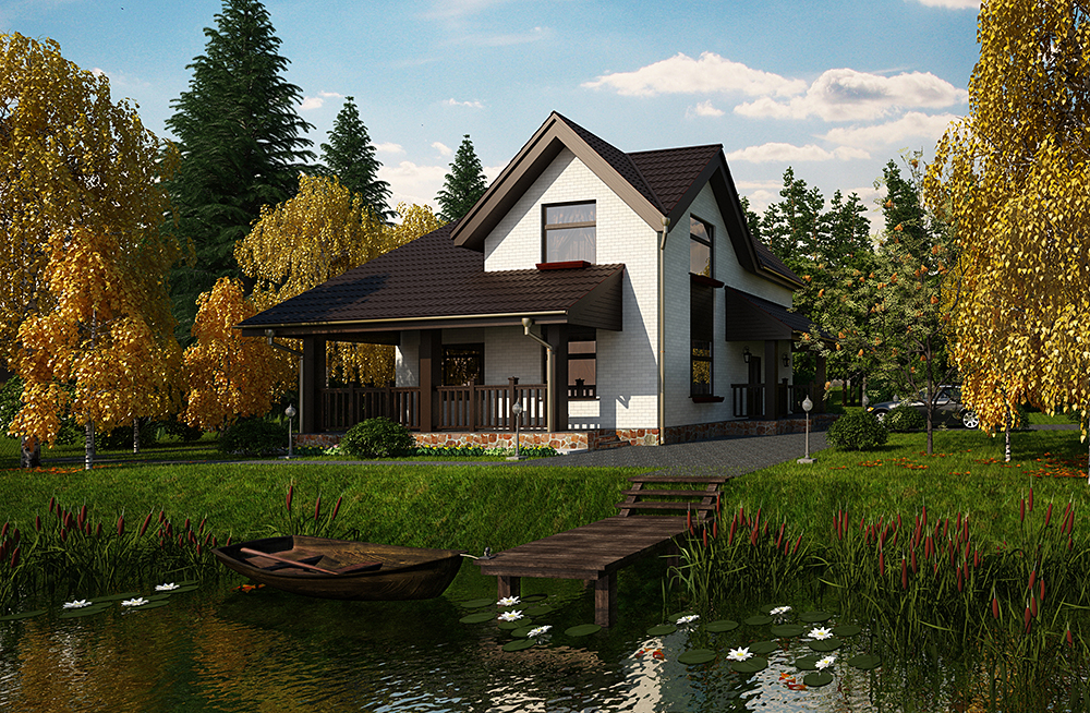 House on the shore of the lake in 3d max corona render image