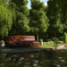 Bench in the park in Blender cycles render image