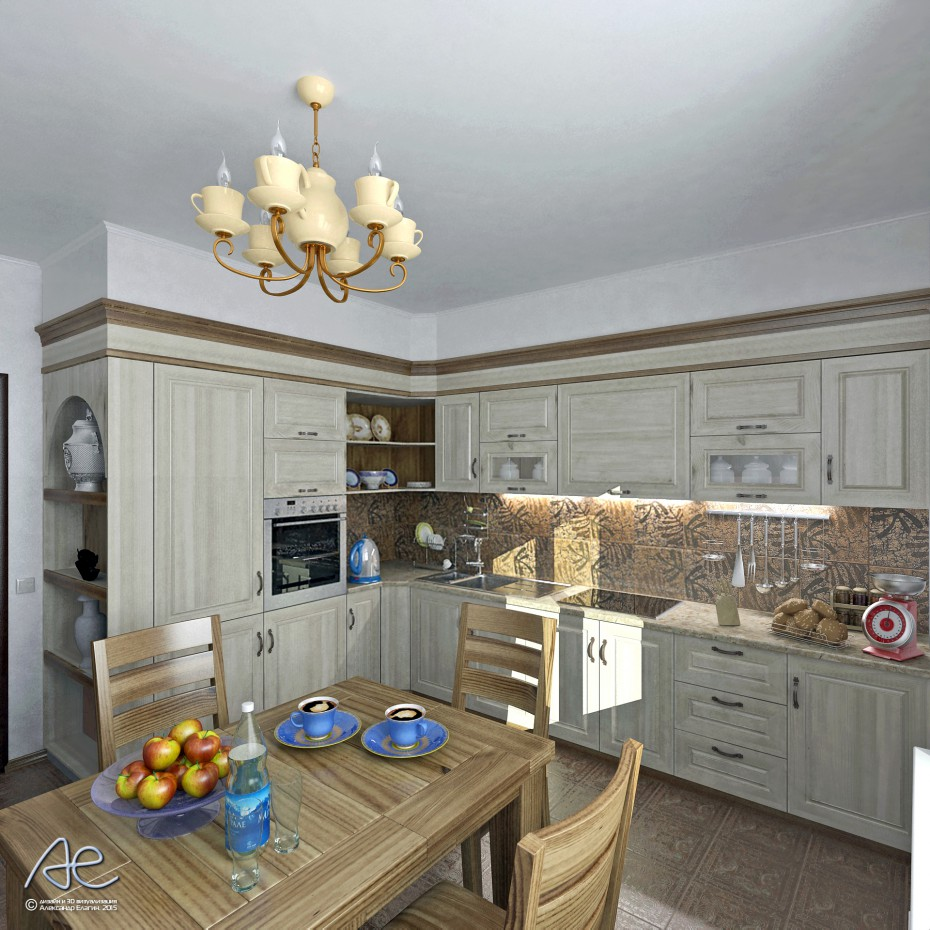 Options for a Kitchen in 3d max vray image