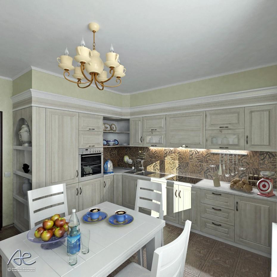 Варианты одной кухни в 3d max vray изображение