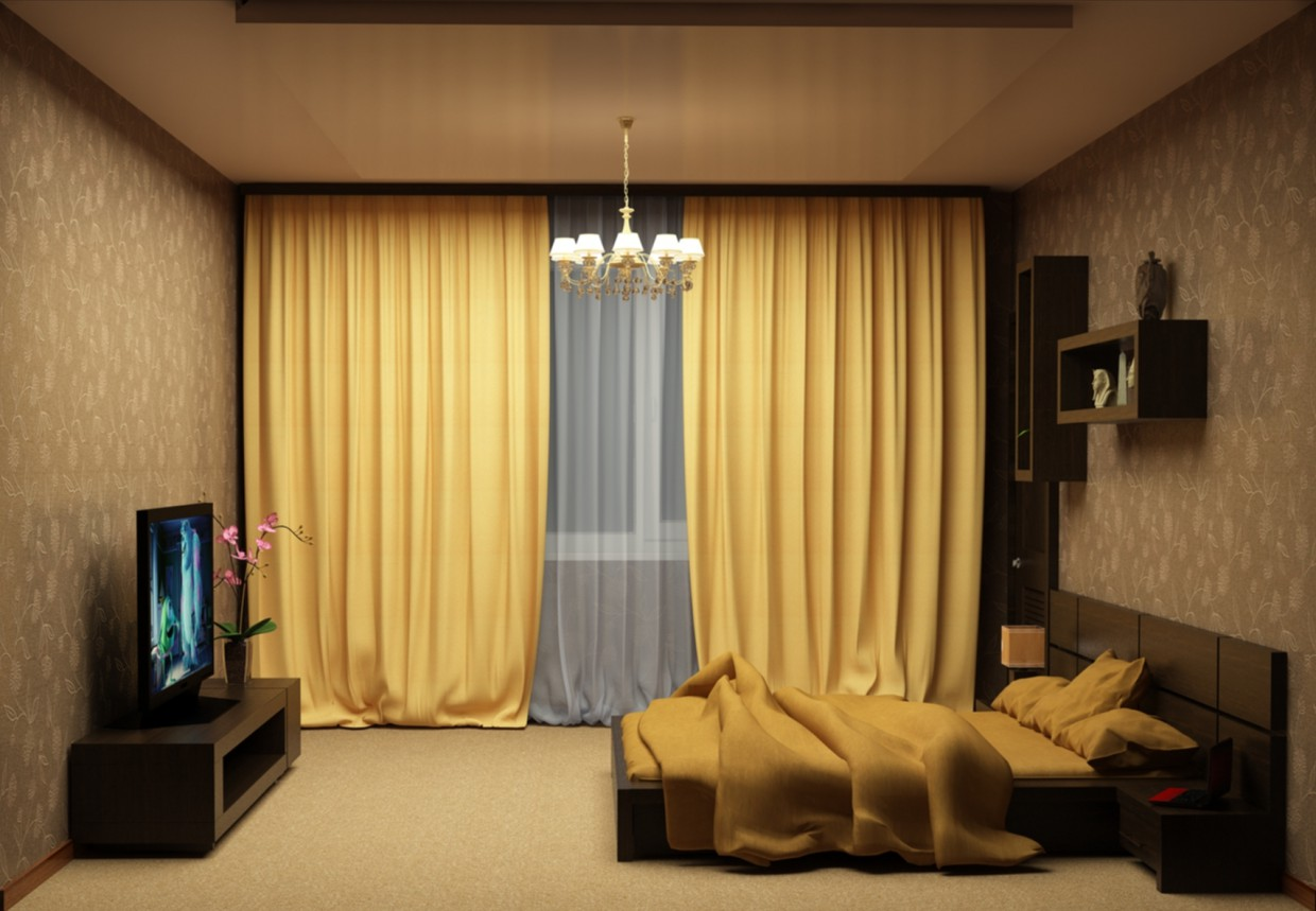 3d visualization of the project in the Bedroom 3d max, render vray of diasik7