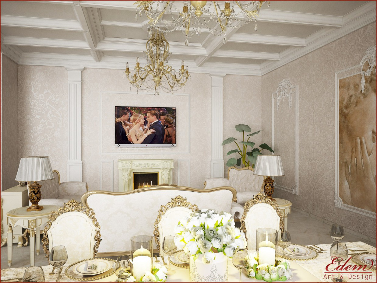 Living room in the classical style) in 3d max vray image