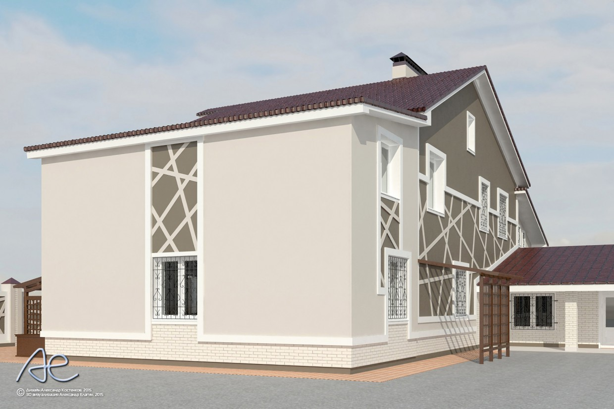 Finishing facades cottage in 3d max vray image