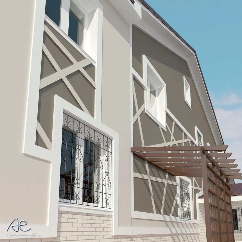 Оздоблення фасадів котеджу в 3d max vray зображення