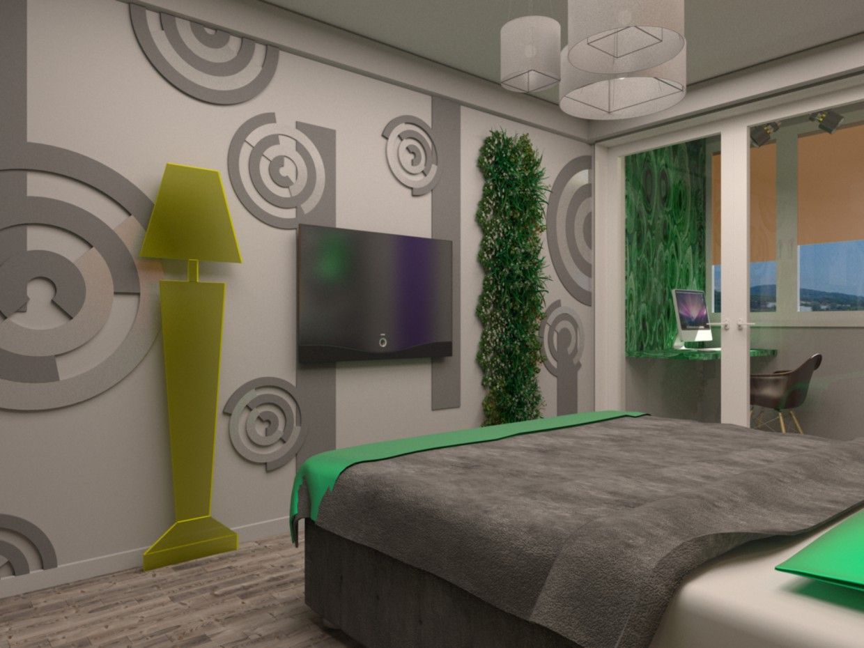Bedroom in amber  in  3d max   vray  image
