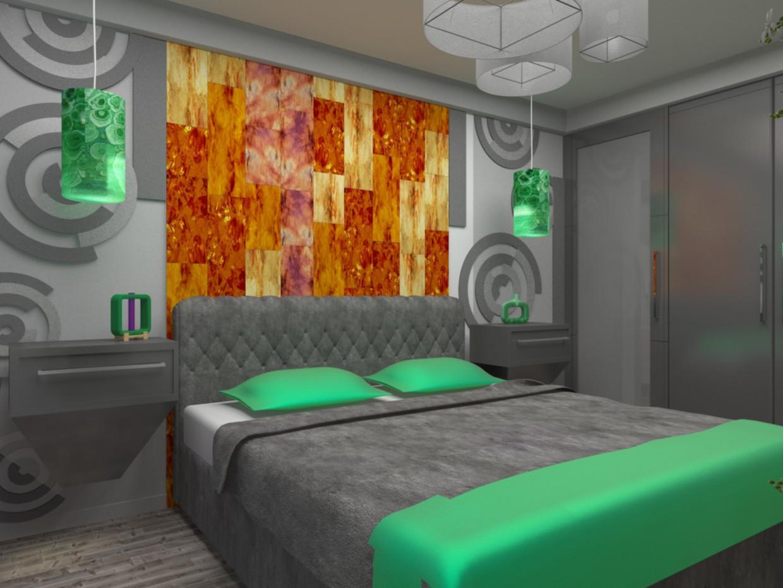 imagen de Dormitorio en color ámbar en 3d max vray