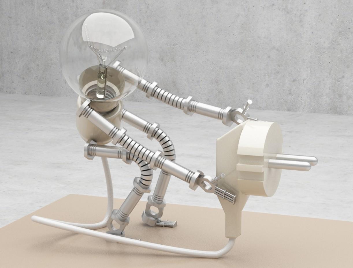 Visualizzazione 3D del progetto Lampada del robot)) nel , rendere vray di Doroteya