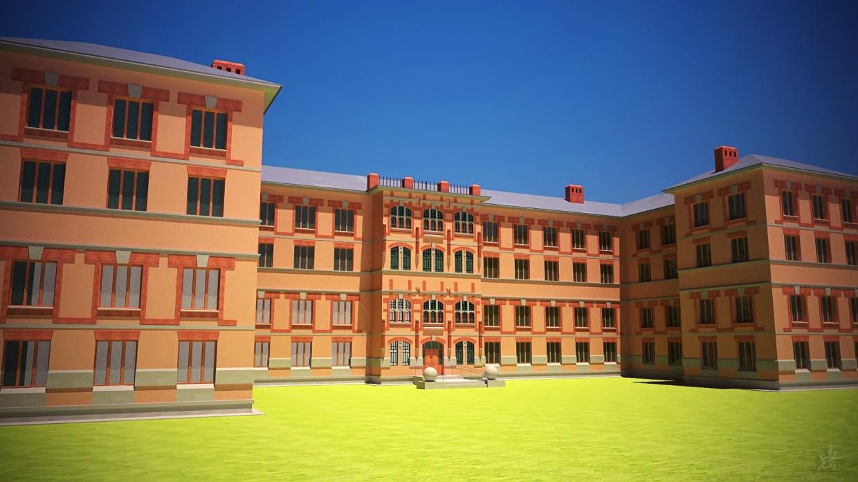 visualización 3D del proyecto en el Edificio del hospital 3d max render vray 2.5 old_hunter