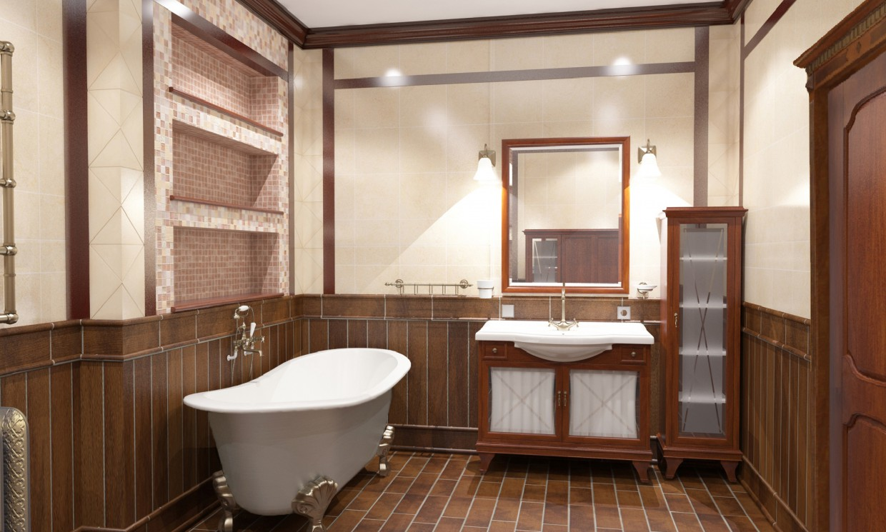 A bathroom in a private house in 3d max vray image