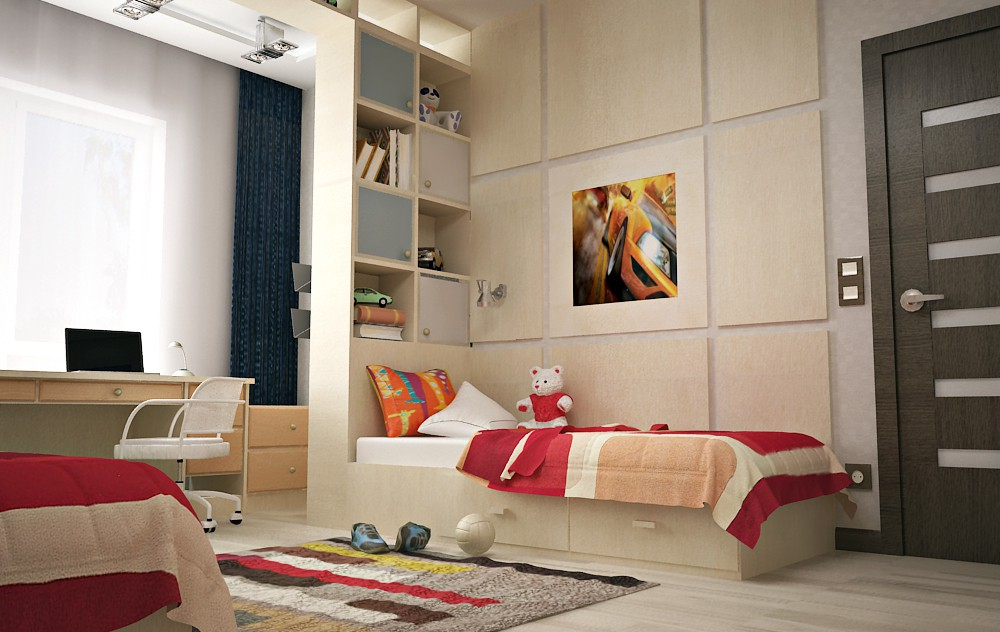 3d visualization of the project in the Bedroom for two boys ArchiCAD, render vray 2.0 of Boogy