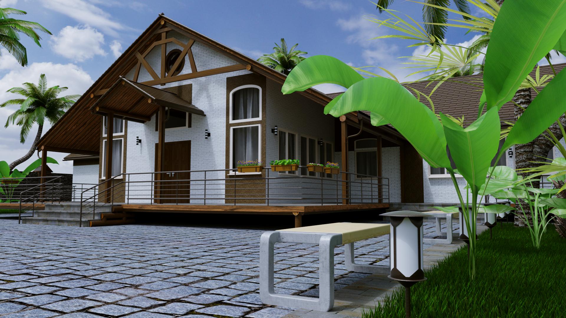 house in Blender cycles render image