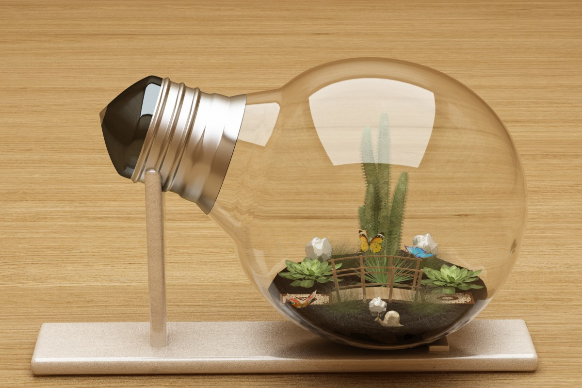 Micro-world in the lamp in 3d max vray image