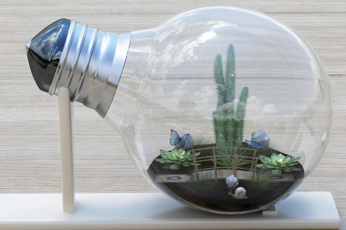 Микро-мир в лампочке в 3d max vray изображение